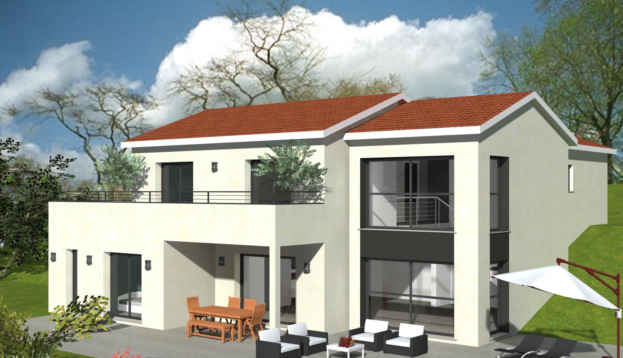 Maison Sur Sous Sol Avec Baie Vitrée Toute Hauteur Et Balcon