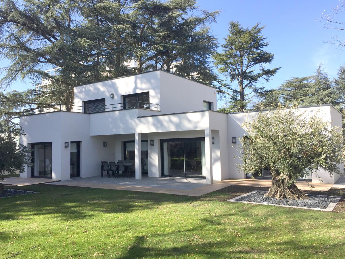 Maison Moderne Avec Toit Plat Et Beau Jardin Avec Olivier