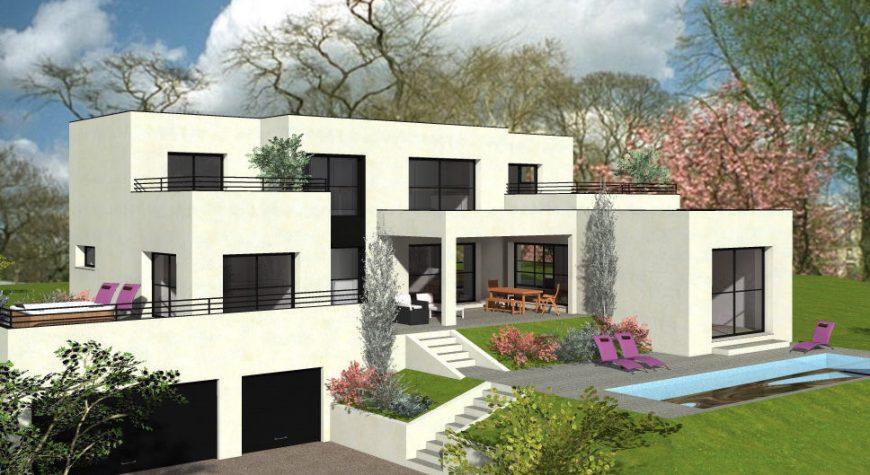 Maison avec toit-plat sur 3 niveaux avec solarium et terrasse couverte