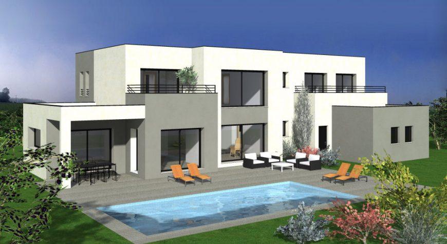 Maison avec toit plat avec 5 chambres terrasse maisons batiseul constructeur de maisons - Maison avec balcon terrasse ...