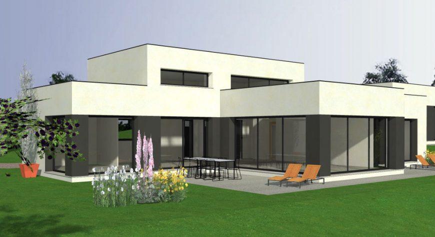 Maison lumineuse avec toit-plat et grande baie vitrée