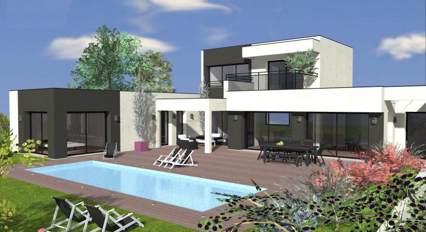 Maison luxe avec toit-plat bicolore