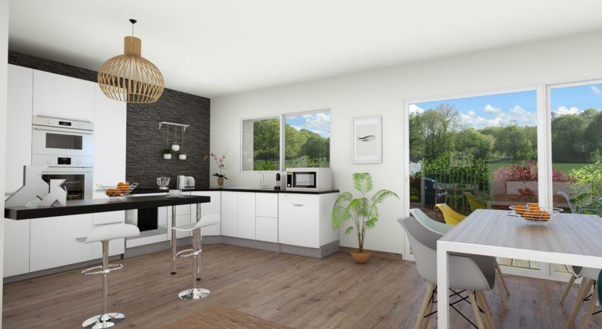 Intérieur cuisine ouverte moderne - Maisons Batiseul ...