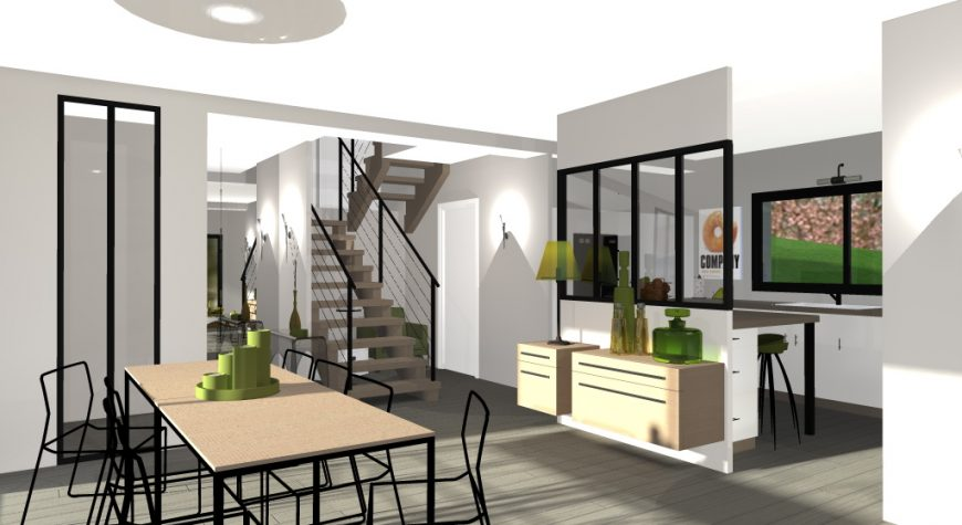 interieur avec verrière et escalier en bois