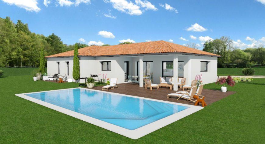 Maison de plain-pied avec terrasse couverte - Maisons ...